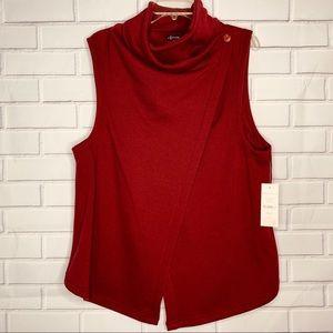 Hannah asymmetrical vest sweatshirt red wine XL